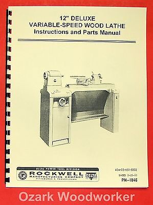 "ROCKWELL 12"" Old Style Variable Speed Wood Lathe Manual 0592"