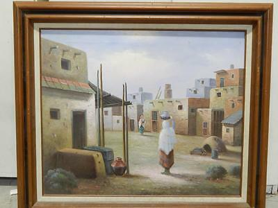 Vintage Sgnd Taos Pueblo Indian Oil Painting New Mexico Western Lrg Size Xlnt !