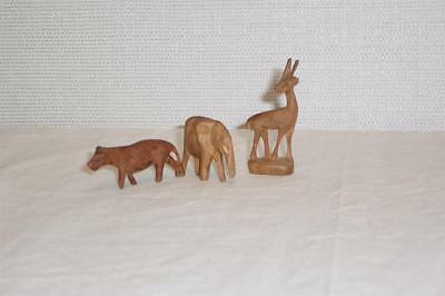 Lot of 3 Vintage Hand Carved Miniature Wooden Figurines~Deer~Elephant~Tiger
