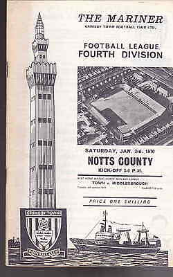Grimsby Town v Notts County Division 4 Jan 3rd 1970 vgc