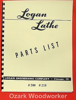 "LOGAN 10"" Lathe #200, #210 Parts Manual 0446"