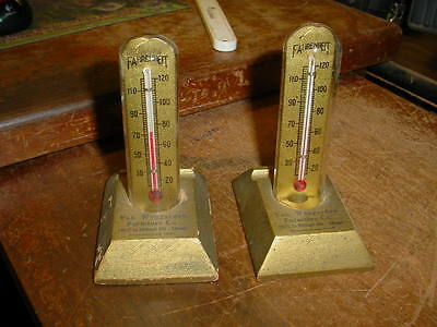 2 vintage VAN WYNGARDEN FURNITURE CO. ADVERTISING THERMOMETERS--CHICAGO