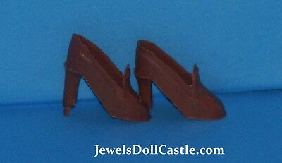 Barbie Clone Brown High Heel Shoes Barbie & Fashion Doll Size Unmarked Mint Cond