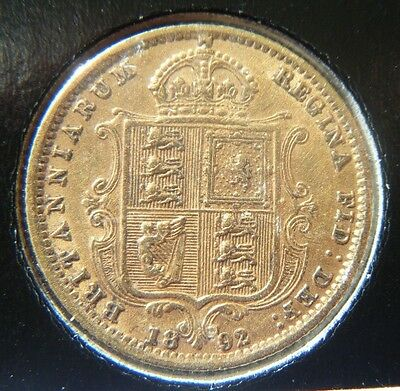 1892 Great Britain Half Sovereign 0.9170 Gold Coin