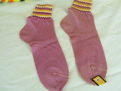 ladies vintage 50s-60s deadstock pink ankle socks NOS size 6-6.5 rainbow stripes