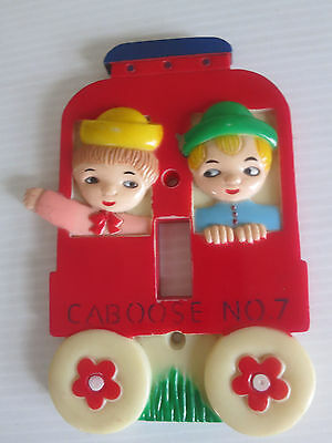 Vintage 1975 Nursery Kids Light Switch Plate Cover Red Caboose Train