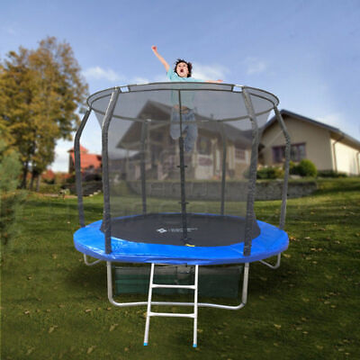 8FT ROUND SPRING TRAMPOLINE With Ladder Safety Net Enclosure Mat