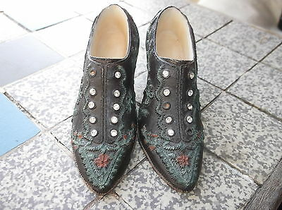 2 X Collectable Miniature Shoe Baroque Style Detailed Embroidered Look Sparkle
