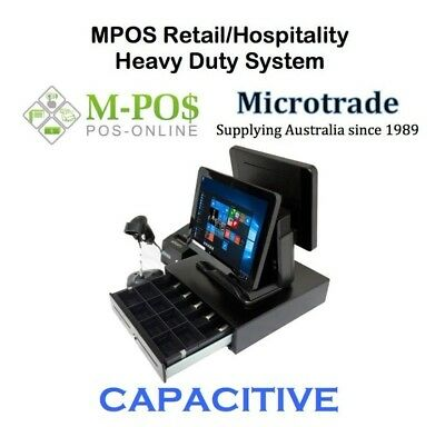 "Dual 15"" Capacitive Touch POS Terminal, Heavy Duty Point of Sale System Complete"