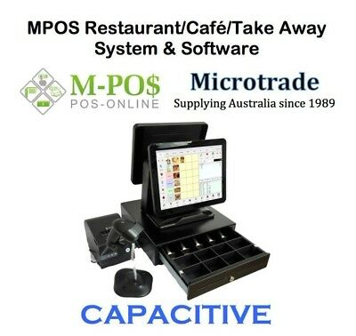 "Dual 15"" Capacitive Point of Sale System, Restaurant POS Software Complete"