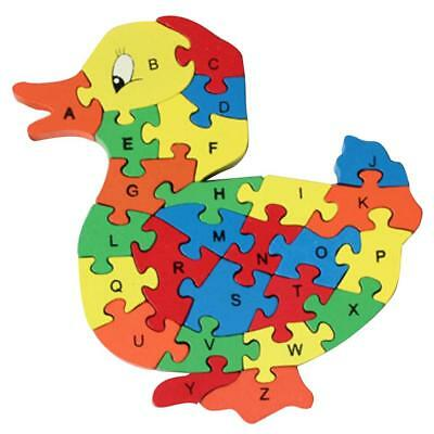 Wooden Alphabet Number Jigsaw Duck Puzzle Preschool Kids Letter Learning Toy