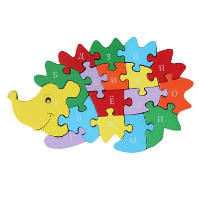 Wooden Alphabet Number Jigsaw Hedgehog Puzzle Preschool Letter Learning Toy