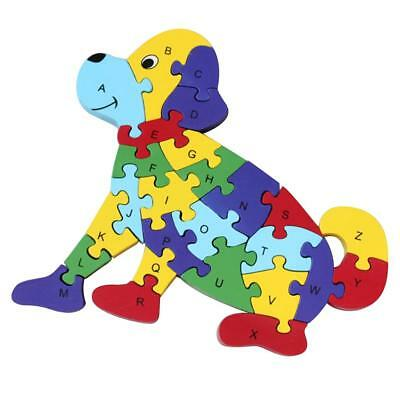 Wooden Alphabet Number Jigsaw Dog Puzzle Preschool Kids Letter Learning Toy
