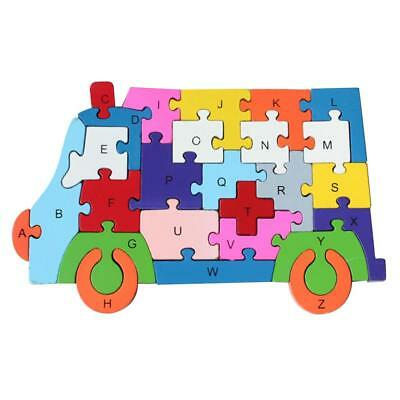 Wooden Alphabet Number Jigsaw Ambulance Puzzle Preschool Letter Learning Toy