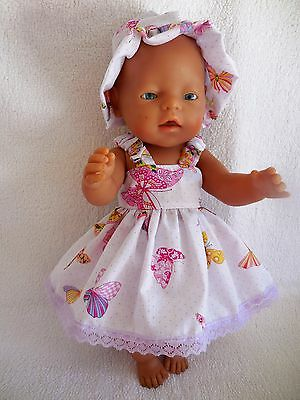 """Baby Born 17""""  Dolls Clothes White With Butterfly Summer  Outfit"""