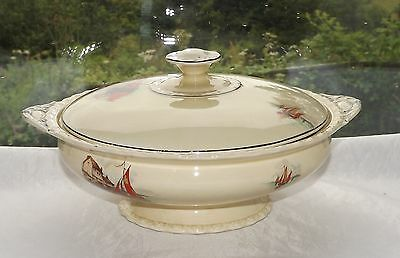 Art Deco Myott Pottery Vandyke Pattern Lidded Tureen c1930s Hand Finished