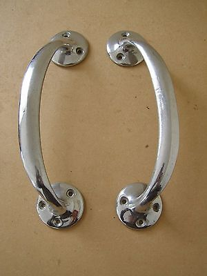 Pair Vintage Authentic 1950's Solid Polished Metal Door Pull Handle Free UK Post
