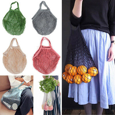 Mesh Bag Organic Cotton String Green Shopping Tote Short Handle Reusable Handbag