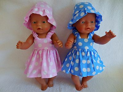 """Baby Born 17"""" Dolls Clothes Blue And Pink Summer Outfit"""