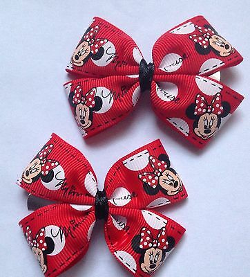 Lovely Girls Red Ribbon Minnie Mouse Bow Hair Clips, Handmade