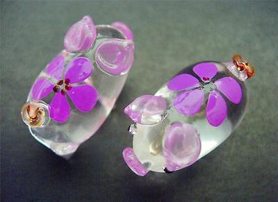 2 Tiny Purple Floral Glass PIGS PIGLETS Animal Ornaments Collectors Item Gift