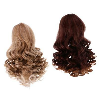 Dolls Gradient Color Wavy Curly Hair Wig for 18inch American Doll DIY Making