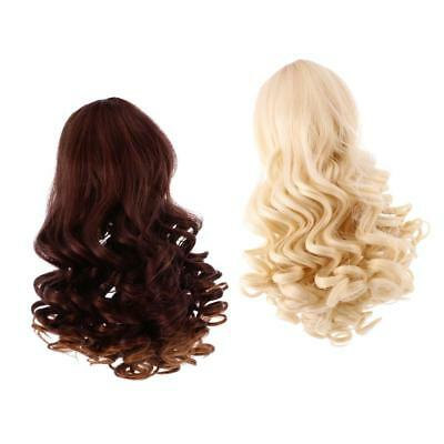 2 Pieces Doll Wavy Curly Hair Wig for 18inch American Doll DIY Making #4+#5