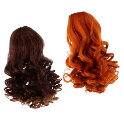 2 Pieces Doll Wavy Curly Hair Wig for 18inch American Doll DIY Making #5+#6
