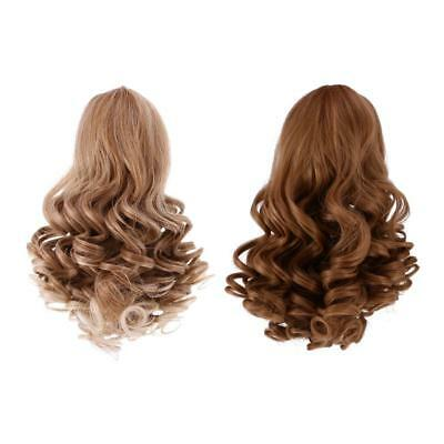 2 Pieces Doll Wavy Curly Hair Wig for 18inch American Doll DIY Making #1+#3