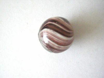 ANTIQUE MARBLE HANDMADE GERMAN JOSEPHS COAT SWIRL PURPLE WHITE 1850 - 1870 15mm