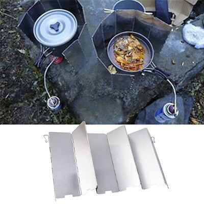 8PCS Aluminum Alloy Wind Shield Gas Stove Screen For Outdoor Camping Barbecue