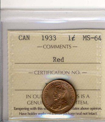 1933 1Cent Canada   Iccs  Graded Ms64  Super  Nice  Red