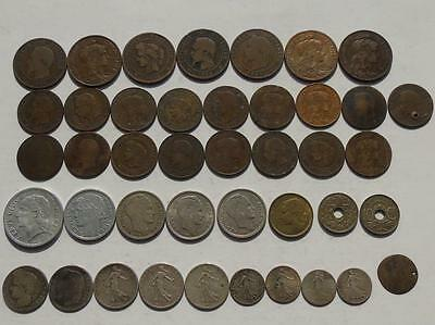 Collection of French Coins, inc. Antique & some Silver, 10 Centimes Francs etc