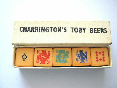 POKER DICE CHARRINGTONS TOBY BEERS X 5 BOXED VINTAGE PLAYING CARD SYMBOLS 1950s
