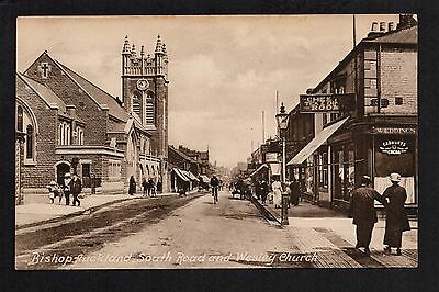 Bishop Auckland - South Road and Wesley Church - printed postcard