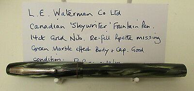 Rare Canadian 'Skywriter' F/Pen by LE Waterman-14ct Gold Nib -Green Marble- A/F