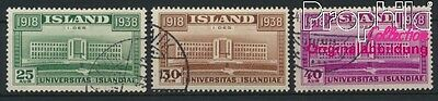 Iceland 200-202 (complete issue) fine used / cancelled 1938 University (8883103