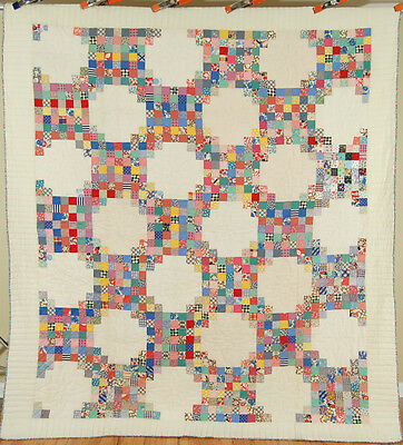 Large COLORFUL Vintage Irish Chain 49-Patch Postage Stamp Antique Quilt~COLORFUL