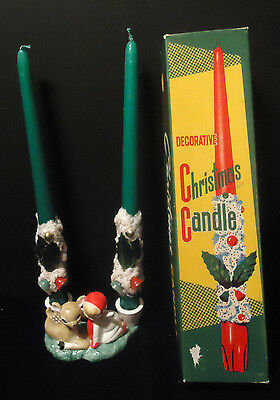 HOLT HOWARD Angel & Fawn Candle Holder & 2 Japan Holly & Bells Candles ORIG BOX