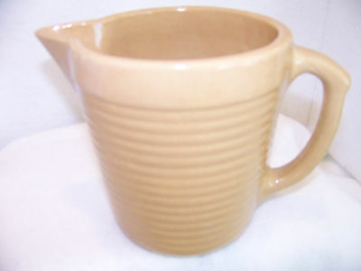 ANTIQUE VINTAGE MONMOUTH USA Stoneware Pitcher Milk Water Tan Ring ware 5.5""