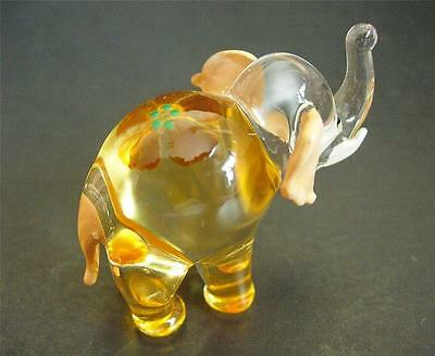 Glass ELEPHANT, Glass Ornament, Hand Painted Orange Decorative Glass Animal Gift