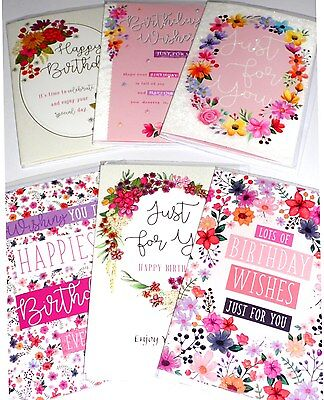 GENERAL BIRTHDAY CARDS x36, just 26p, 6 DESIGNS X 6, FOILED, WRAPPED, (B138