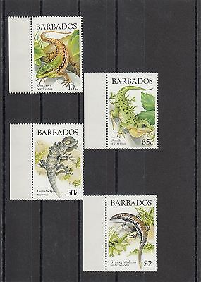 Timbre Stamp  4  Barbades Y&t#723-26 Lezard Lizard  Neuf**/mnh-Mint 1988~A01