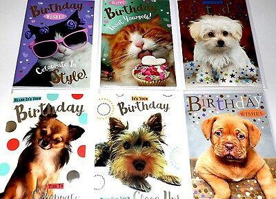 GENERAL BIRTHDAY CARDS x 36, just 26p, 6 DESIGNS X 6, FOILED, WRAPPED, (B117