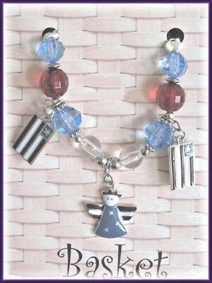 Longaberger Basket Tie On Americana Flags Charm Red Clear Blue Beads New In Pack