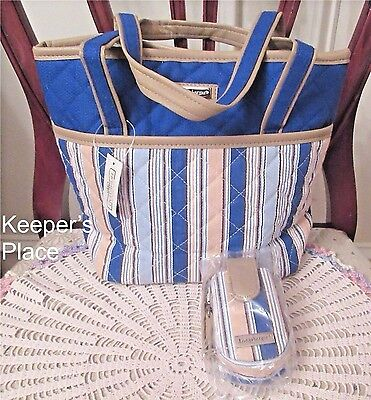 Longaberger Cabana Blue Stripe Quilted Tote Bag With Cell Case New