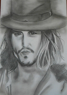 * JOHNNY  DEPP * -  Ritratto bellissimo, cm 33 X 48  carboncino