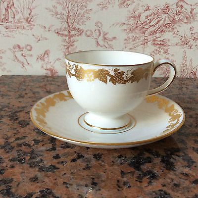 Wedgwood Whitehall -Cup And Saucer - Gold On White