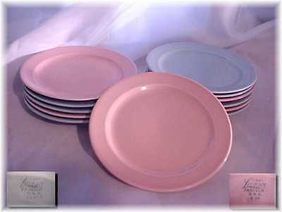 12 Vintage Luray Blue Pink Dessert Plates Taylor Smith Taylor Lot Made In Usa