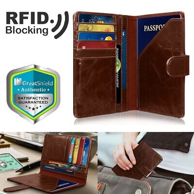 GreatShield RFID Blocking PU Leather 9 Slot Passport Card ID Holder Wallet Cover